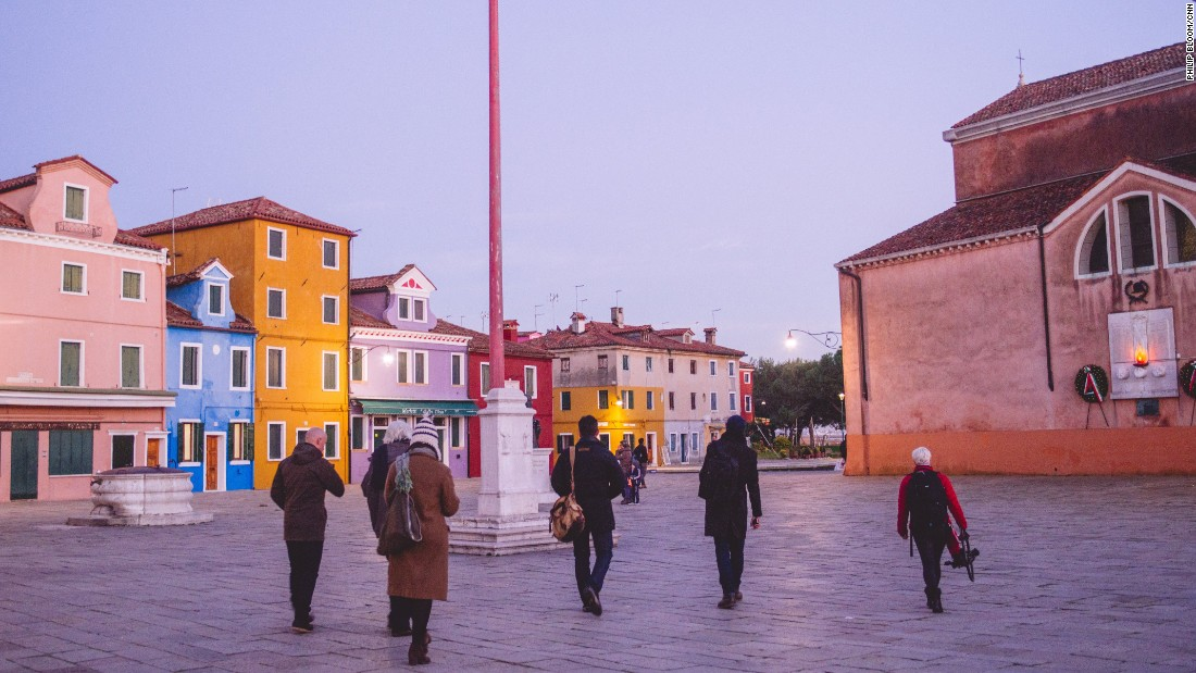 """The Wonder List"" crew wraps up an evening shoot on the island of Burano."