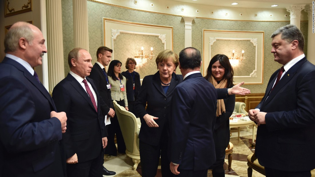 A recent ceasefire was brokered during marathon talks in Minsk, Belarus. From left, Belarusian President Alexander Lukashenko, Russian President Vladimir Putin, German Chancellor Angela Merkel, French President François Hollande and Ukrainian President Petro Poroshenko gather before negotiations begin on Wednesday, February 11.