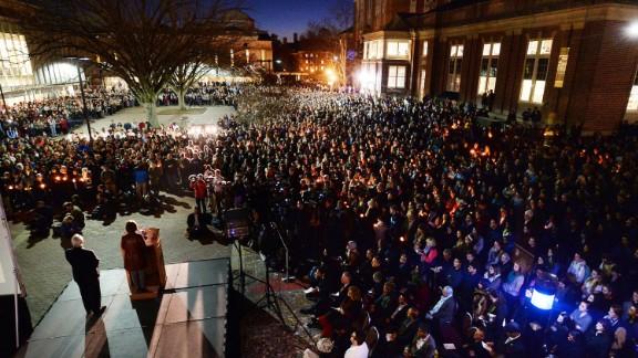 University Chancellor Carol Folt addresses mourners gathered on campus February 11.