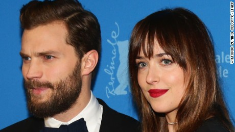 "Stars Jamie Dornan and Dakota Johnson attend the ""Fifty Shades of Grey"" premiere in Berlin."