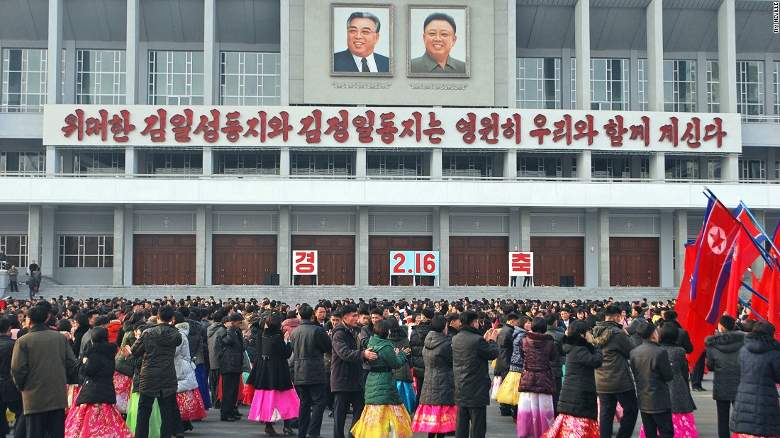 Crowds gather to dance in Pyongyang to mark Kim Jong Il's birthday on February 16, 2014. The former dictator died in 2011. His birthday is a national holiday known throughout North Korea as the Day of the Shining Star.