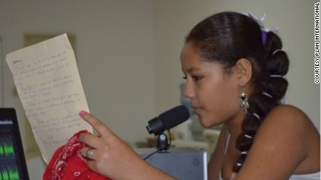 Mariangel, from Nicaragua, hosts a radio show talking about issues on bullying and gender violence.