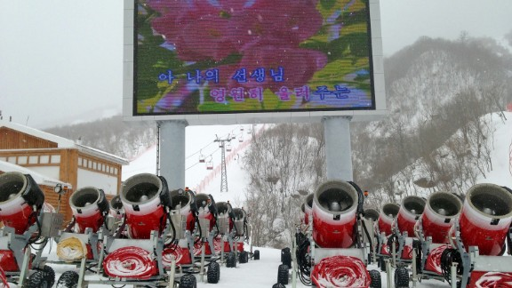 In case anyone needed a reminder, the electronic billboard at a ski resort displays Kimjonilias in honor of the late leader's birthday.