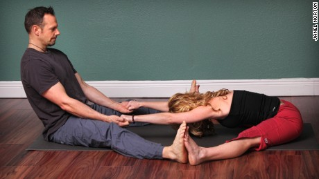 This move releases adductors (inner thighs) and hamstrings, and it strengthens core muscles along the way.