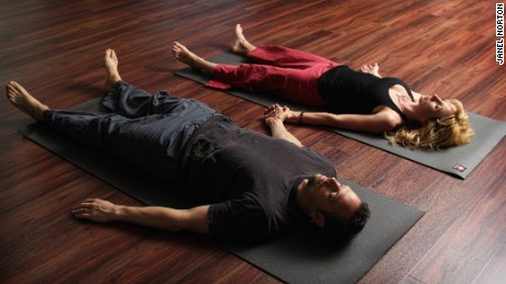 """Savasana"" means corpse pose in Sanskrit and is the standard final relaxation position in most yoga practices."