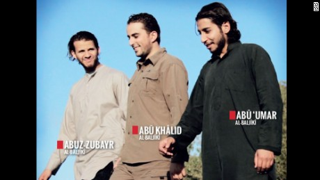 This ISIS picture shows Abdelhamid Abaaoud, right, and two ISIS recruits.