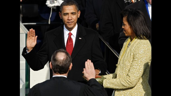 Obama is sworn in by Chief Justice John Roberts as the 44th President of the United States on January 20, 2009.