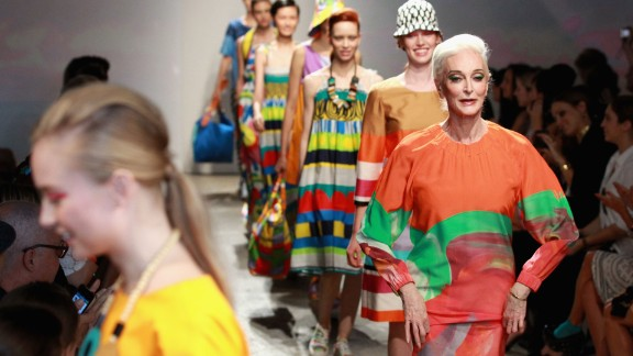 Dell'Orefice walked the runway at a Marimekko fashion show during Mercedes-Benz Fashion Week, also on September 10, 2012.