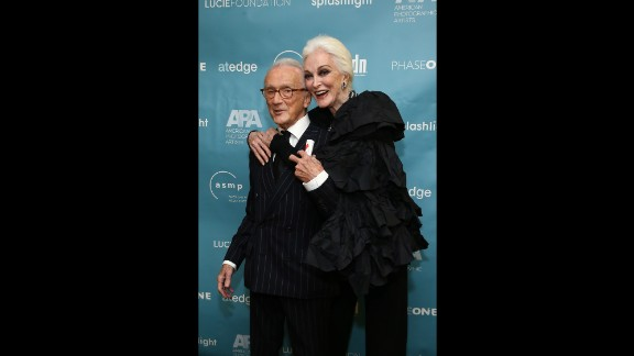 """Dell'Orefice and photographer Victor Skrebneski, winner of the Lucie award for """"Outstanding Achievement in Fashion,"""" attended the 11th Annual Lucie Awards at Zankel Hall, Carnegie Hall on October 27, 2013 in New York."""