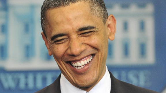 Obama laughs as he makes a statement on his birth certificate in April 2011. Obama said he was amused over conspiracy theories about his birthplace, and he said the media