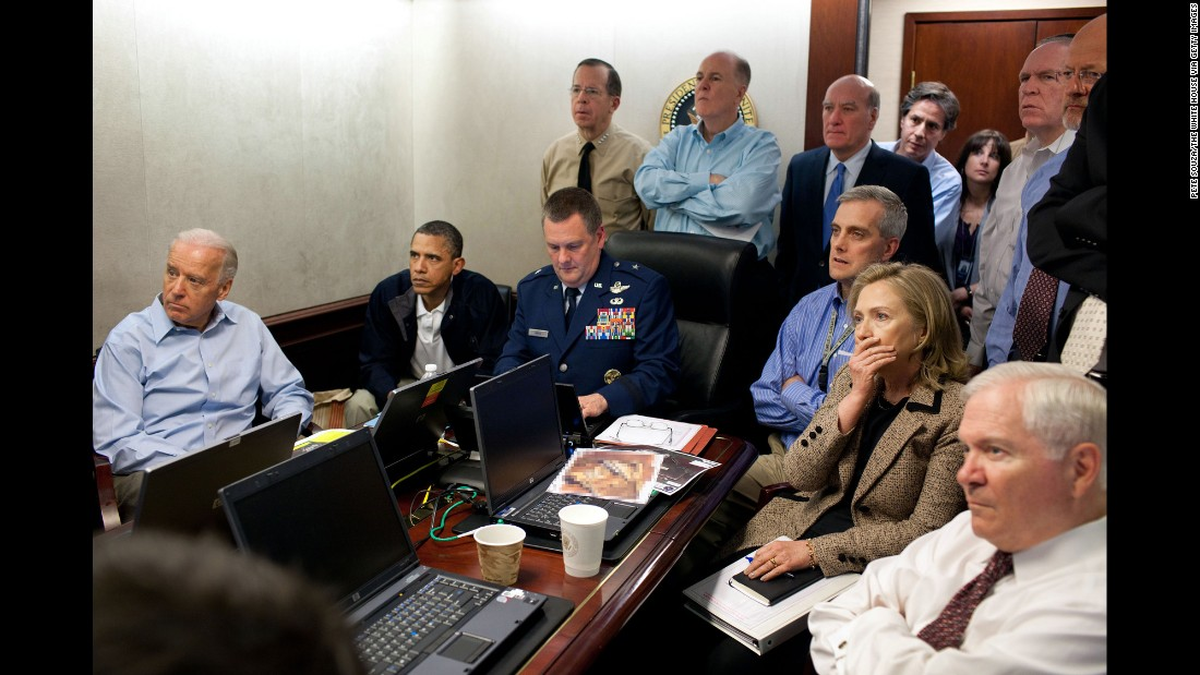 Obama, Biden, Secretary of State Hillary Clinton and members of the national security team receive live updates on the mission to capture or kill Osama bin Laden on May 1, 2011.