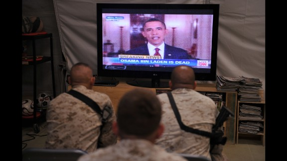 U.S. Marines watch from Afghanistan as Obama announces the death of bin Laden on May 2, 2011.
