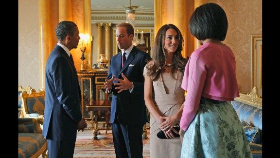 Obama and the first lady meet with Britain