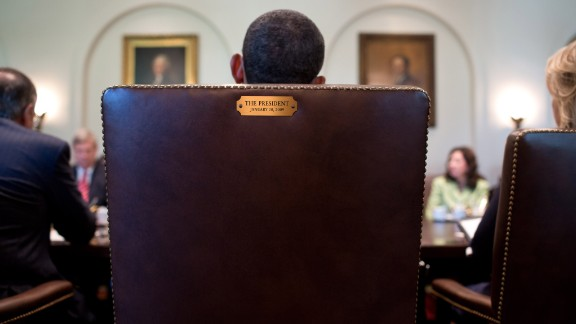 Obama sits in his chair during a Cabinet meeting in July 2012. This image was tweeted by his official Twitter account in August 2012 in response to Clint Eastwood