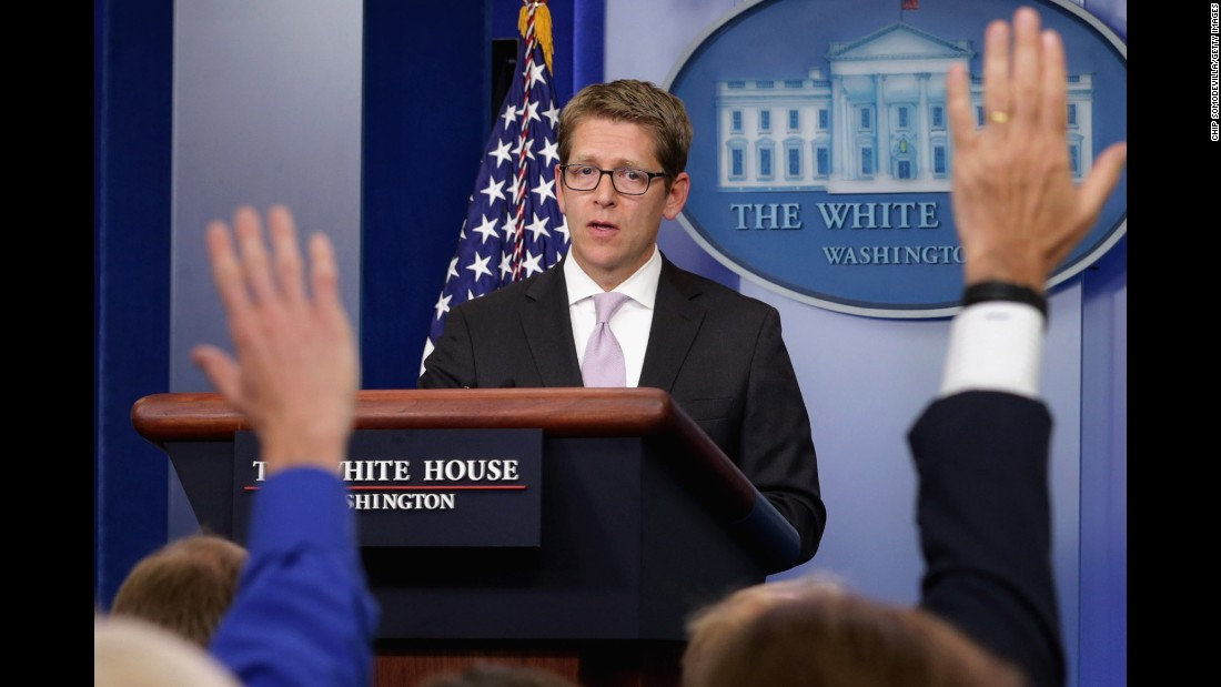 White House press secretary Jay Carney fields questions from reporters during a daily press briefing at the White House in September 2013. Obama had just pushed for congressional approval for limited military strikes against the Syrian government.