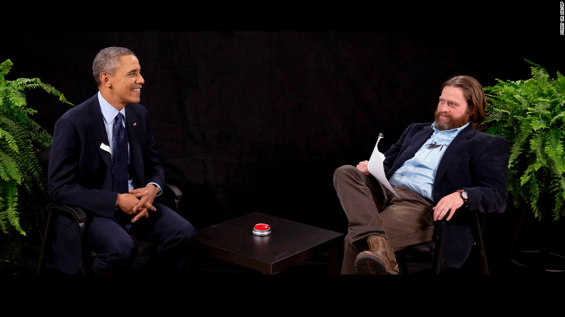 "Actor and comedian Zach Galifianakis interviews Obama during his appearance on ""Between Two Ferns,"" a digital video series with a laser focus on reaching people aged 18 to 34. The President urged young people to sign up for his new health care plan in the video posted on the website Funny or Die."