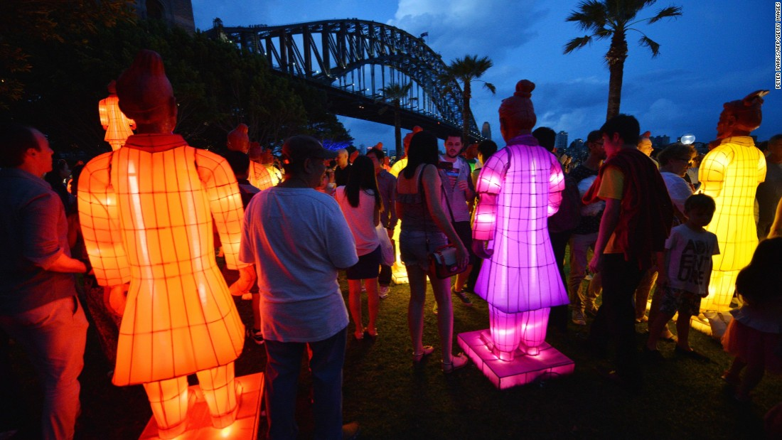 visitors look at lanterns in the shape of the chinese terracotta warriors at sydney harbor on photos lunar new year 2015 - Chinese New Year 1961