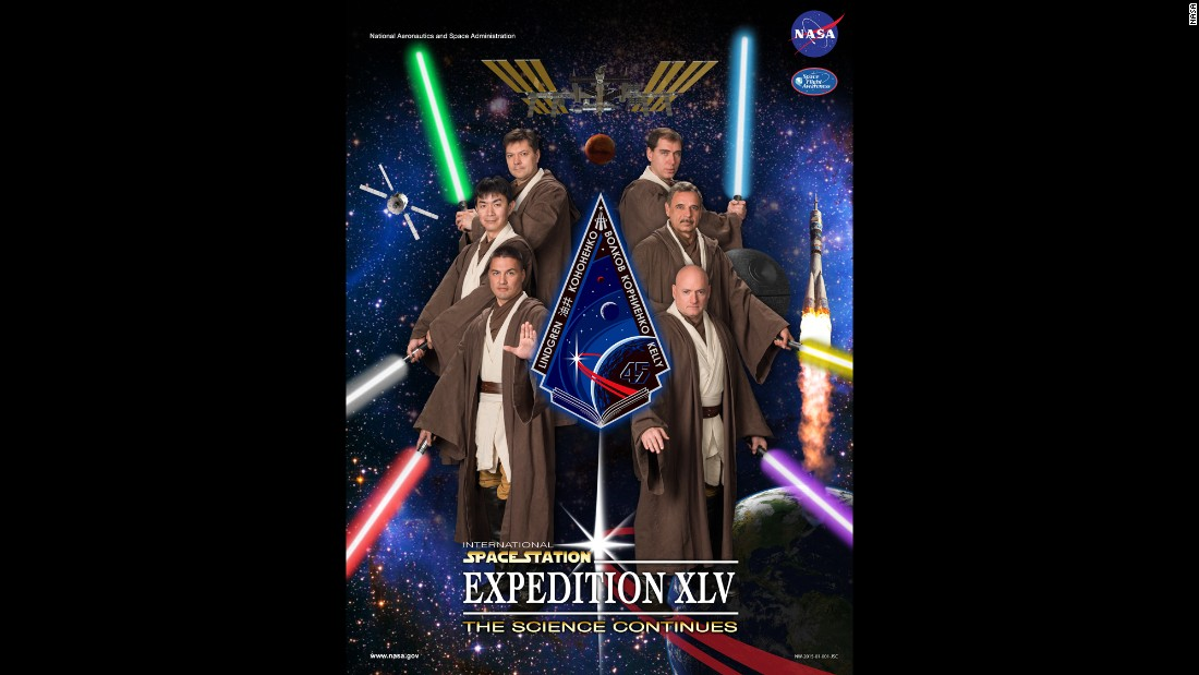 "Despite the inherent dangers of space exploration and the serious nature of NASA's scientific work, the agency has long had a playful side. Here the astronauts of NASA's Expedition 45, which journeys to the  International Space Station in September, pose for a poster in ""Star Wars"" costumes -- complete with light sabers."
