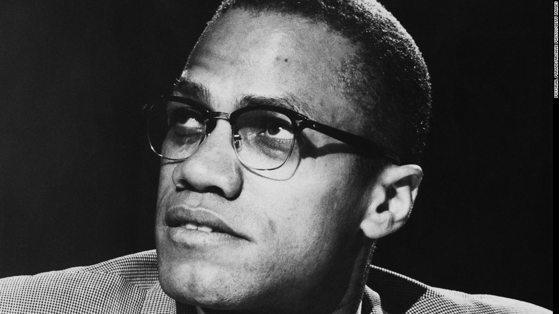 "As a spokesman for the Nation of Islam in the 50s and 60s, civil rights activist Malcolm X grew in popularity. He was a highly sought-after speaker. Here, he is seen on the PBS program ""Open Mind"" in 1963."