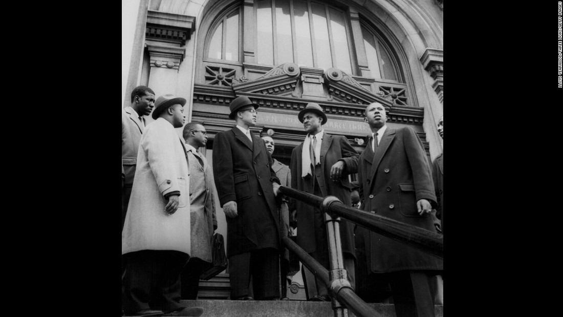 Malcolm X was never afraid to speak out against injustices he said black Americans were facing. In this photo, taken outside a New York courthouse, he offers his support during a police brutality case.