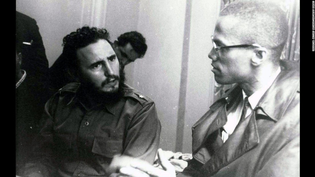 Fidel Castro and Malcolm X meet in Harlem in 1960. The Cuban leader was visiting New York to address the United Nations.