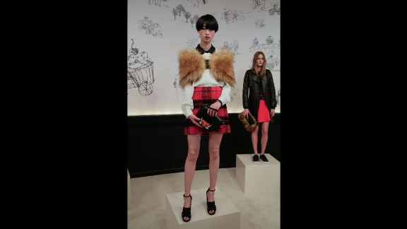 """Kate Spade's chief creative officer Deborah Lloyd drew some inspiration from """"Fantastic Mr. Fox,"""" as evident in this look with a rich plaid and fox motif."""