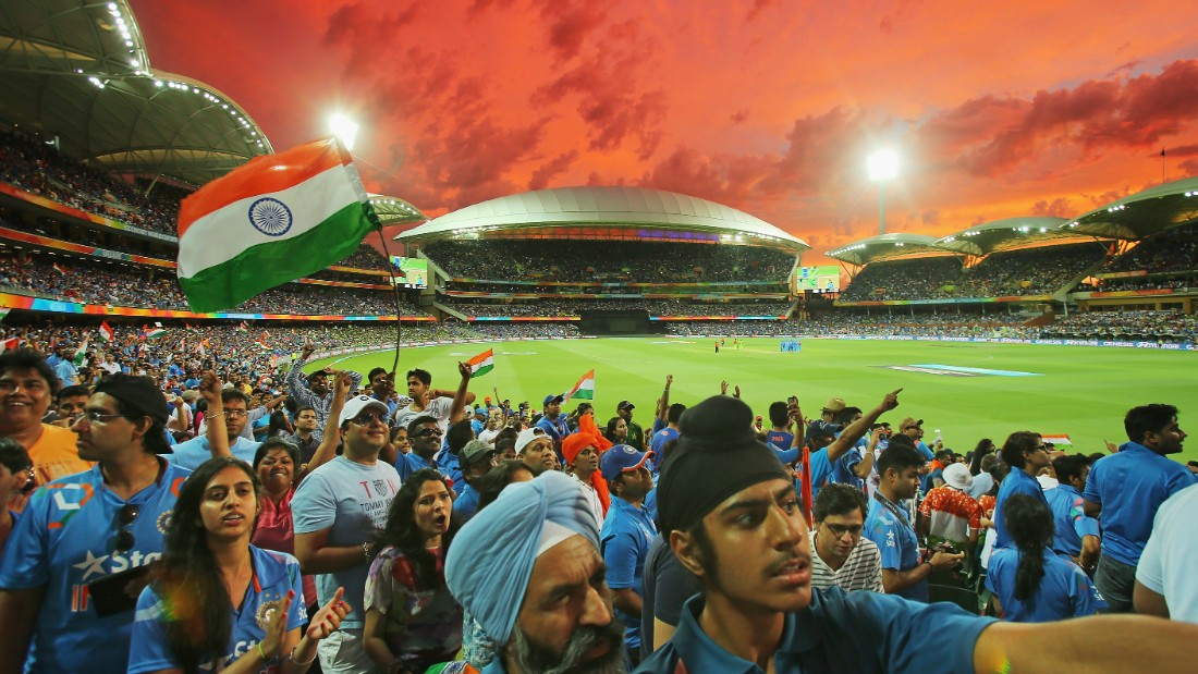 A bright red sky is the backdrop for Indian celebration at the historic Adelaide Oval in South Australia.