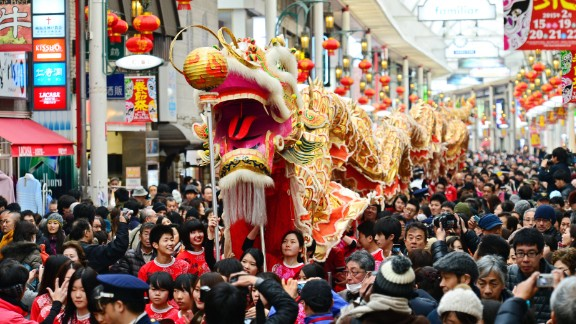 A dragon dance is performed in Kobe, Japan, on Sunday, February 15, in celebration of the Lunar New Year.