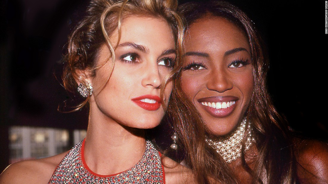 Crawford and fellow modeling superstar Naomi Campbell attend a private party in New York in 1992.