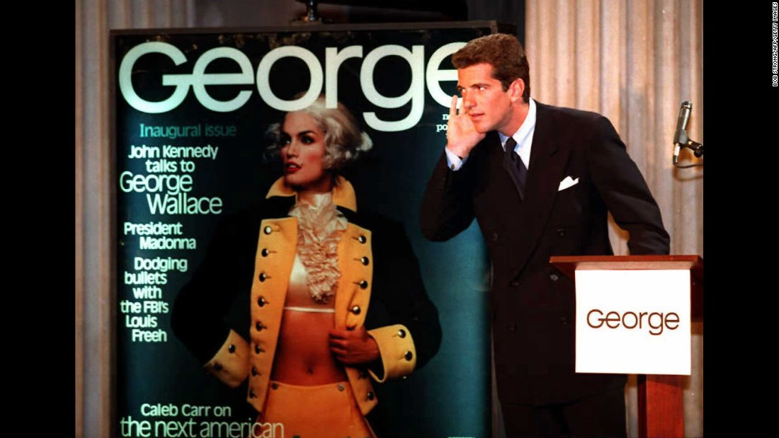 Crawford posed as George Washington on the first cover of John F. Kennedy Jr.'s political magazine, George, in 1995.