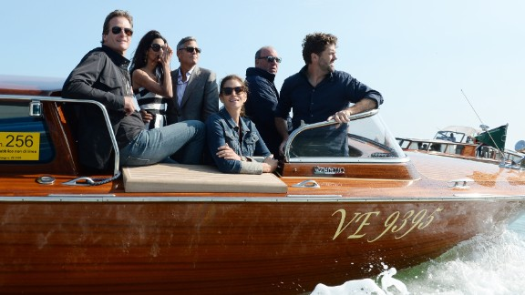 Crawford, front and Gerber arrive in Venice with Amal Alamuddin, second from left, and George Clooney in September for Clooney and Alamuddin