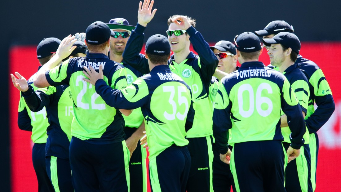 But the Irish players were all smiles at the end of their rivals' innings, given their history of run chases past the 300-mark in World Cup cricket.