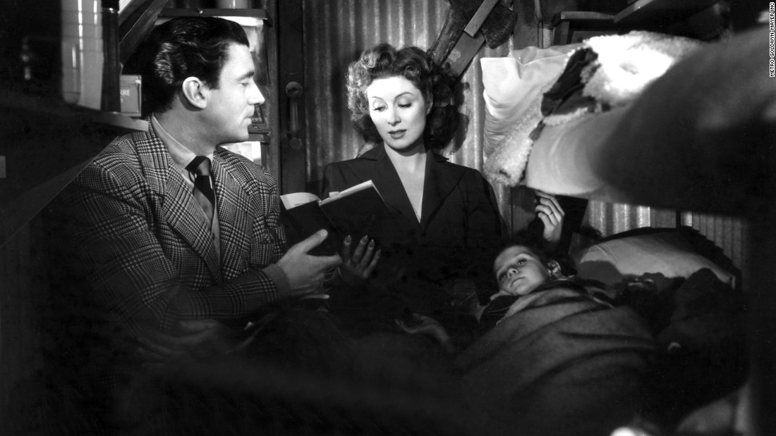 "Hollywood's war effort went full throttle with William Wyler's ""Mrs. Miniver"" starring Walter Pidgeon and Greer Garson as a heroic couple whose family endures German air raids during the Battle of Britain. Garson also won the best actress award and received much flak for a lengthy acceptance speech that became the stuff of Hollywood legend."