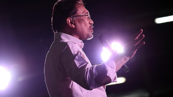 Opposition leader Anwar Ibrahim addresses his supporters at a gathering in Kuala Lumpur on February 9.