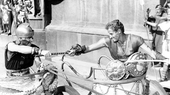 """""""Ben-Hur"""" (1960): Biblical epics were all the rage in the 1950s, and none more so than William Wyler's """"Ben-Hur."""" The movie won a then-record 11 Academy Awards, including best picture, director (Wyler) and actor (Charlton Heston, right). The chariot scene undoubtedly helped ensure """"Ben-Hur's"""" No. 2 ranking on the American Film Institute's list of greatest epics."""