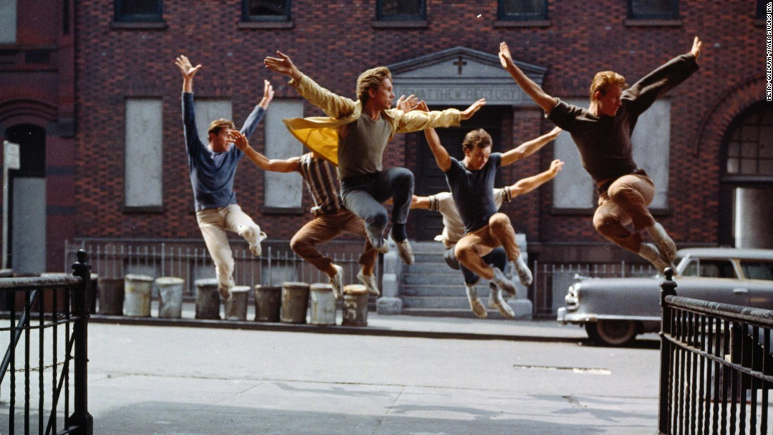 """West Side Story"" used the streets of New York as backdrops for this musical version of ""Romeo and Juliet."" The Jets and Sharks replaced the Montagues and Capulets as rival gangs ready to rumble, leading to tragedy for young lovers Tony (Richard Beymer) and Maria (Natalie Wood). The film took home 10 Oscars, including best supporting actor (George Chakiris), supporting actress (Rita Moreno) and direction (Robert Wise and Jerome Robbins, the first time the award was shared)."