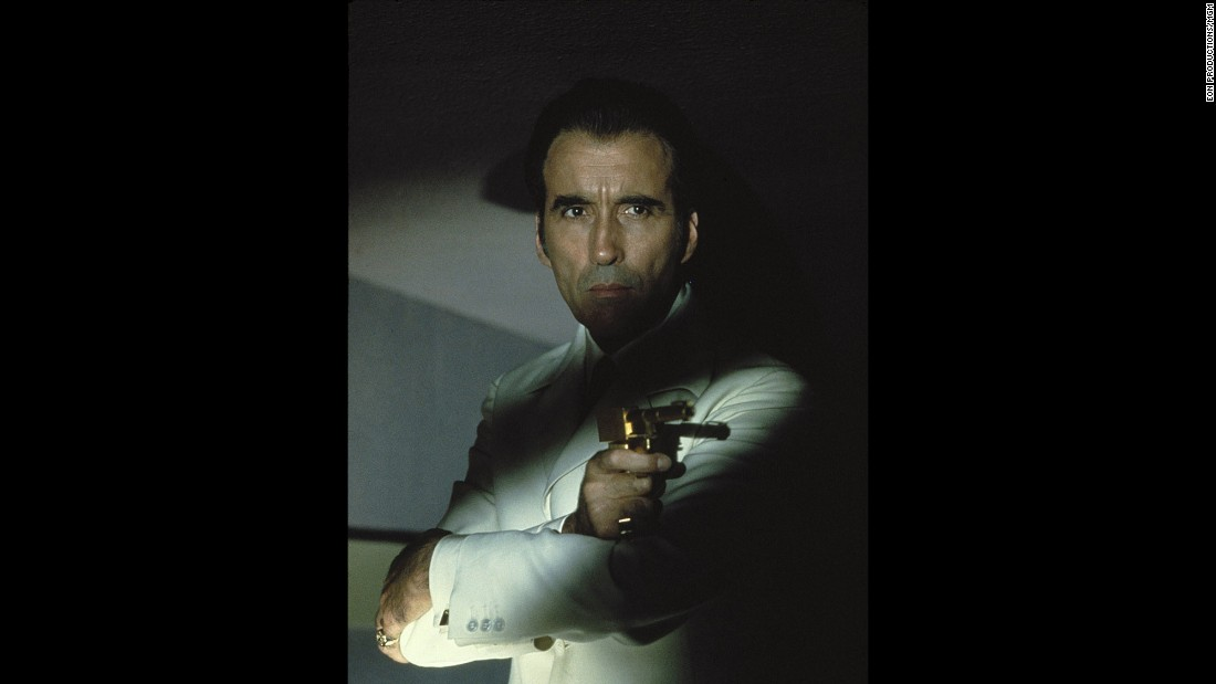"Horror movie king Christopher Lee took on the role of ""The Man With the Golden Gun,"" Scaramanga, in the 1974 Bond film. Lee's other roles include ""The Wicker Man"" and, of course, the ""Lord of the Rings"" and ""Hobbit"" films, in which he plays Saruman."