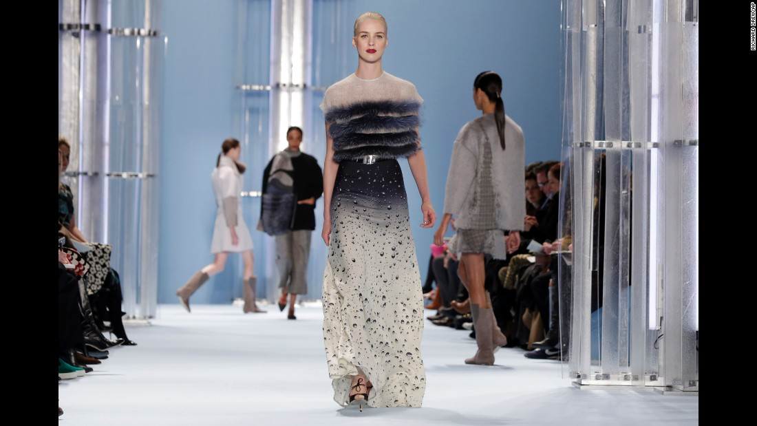 Carolina Herrera's fall collection explored water elements as seen in this water drop skirt with a blue fox top.