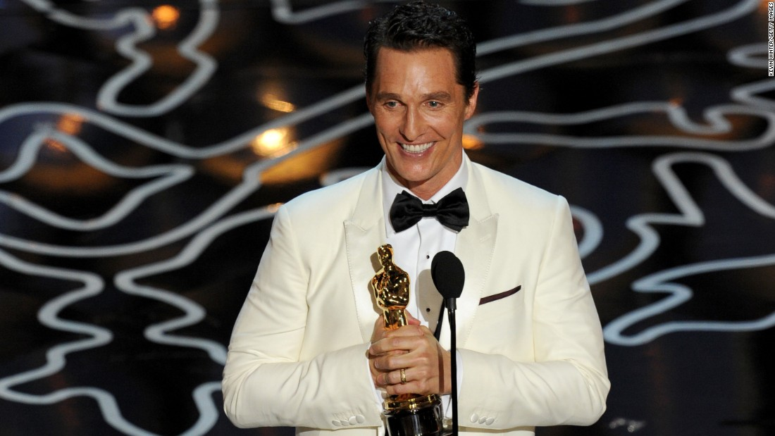 "Matthew McConaughey won for his role in ""Dallas Buyers Club."" He played Ron Woodroof, an HIV-positive man who smuggles drugs to AIDS patients. Co-star Jared Leto was named best supporting actor."