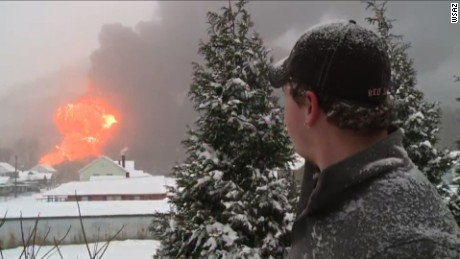 Train derailment causes massive explosion