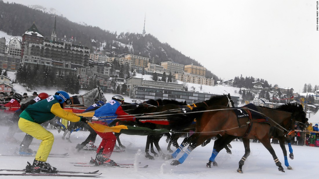 The sport of skijoring has been likened to Ben Hur on snow -- in effect human chariot racing.