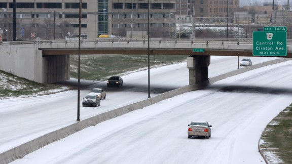 Few vehicles drive through downtown Little Rock, Arkansas, on February 16.