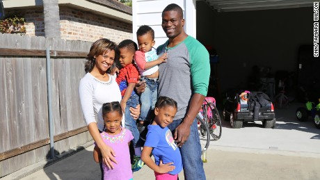 Benjamin Watson with wife Kirsten and children on February 5.