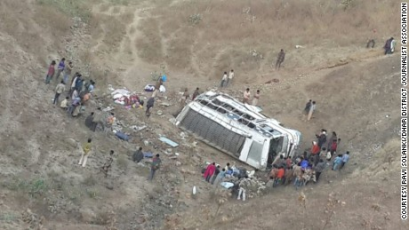 Pictures of the crashed bus at the bottom of the gorge taken on Tuesday morning.