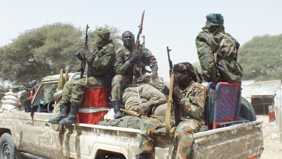 Chadian troops head off to Gambaru on Thursday, February 12. Their truck is just about to cross the El Beid Bridge.