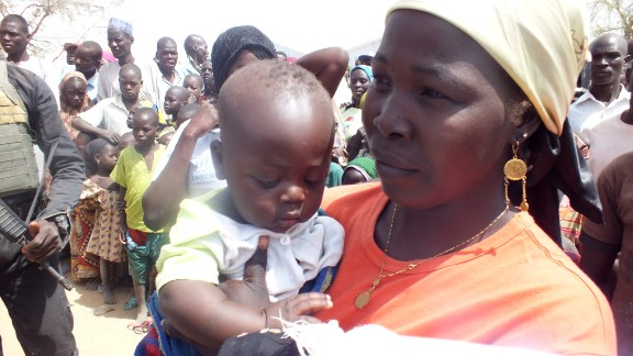 A Nigerian refugee holds her child at the Minawao Refugee Camp in northern Cameroon. She named her son Cameroon, a sort of tribute to the country that has given her a haven.