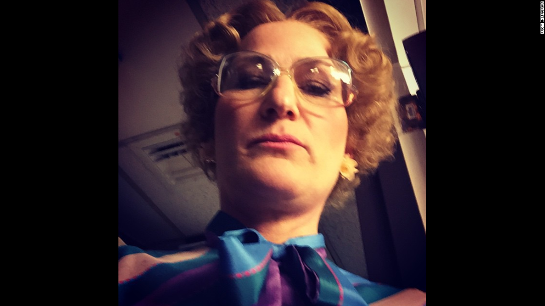"Actress Ana Gasteyer, in costume, posted this <a href=""http://instagram.com/p/zLDh_Aoa5R/?modal=true"" target=""_blank"">""accidental #CulpSelfie""</a> to Instagram on Monday, February 16. Gasteyer appeared as one of her classic ""Saturday Night Live"" characters, the singing high school teacher Bobbi Mohan-Culp, in the show's 40th anniversary special."