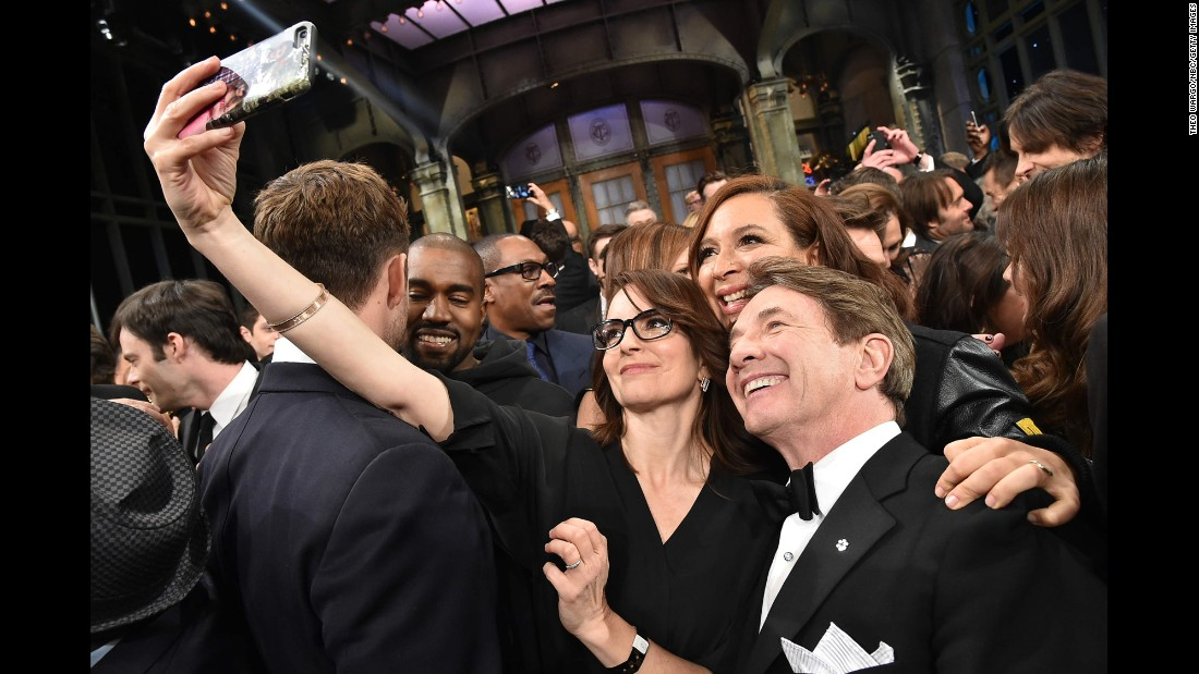 "Tina Fey takes a selfie with Maya Rudolph and Martin Short as the ""Saturday Night Live"" alumni gather for the show's 40th anniversary special on Sunday, February 15."