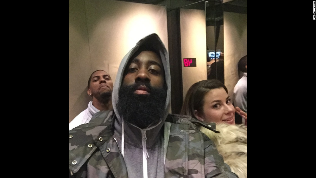 "James Harden, an All-Star basketball player with the Houston Rockets, took this selfie while he was stuck in an elevator on Saturday, February 14. ""Man I'm so nervous right now!!!"" <a href=""http://instagram.com/p/zGWGpmtlfP/?modal=true"" target=""_blank"">he wrote on Instagram.</a> ""I just hope it doesn't drop."" Harden dropped 29 points in the All-Star Game one day later."