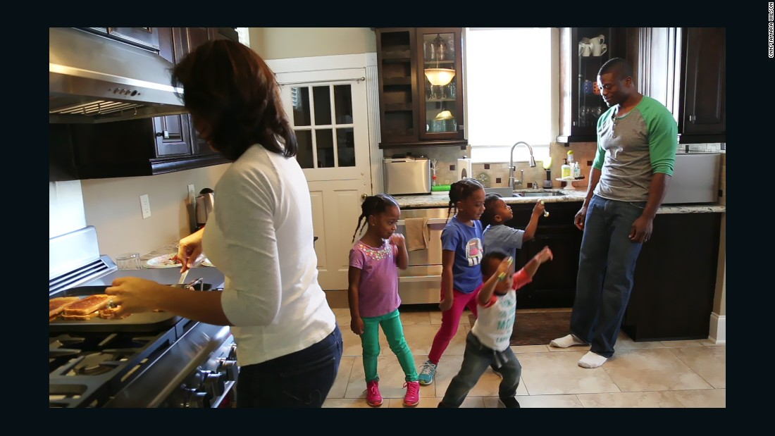 Benjamin Watson's youngest son, Judah, entertains family while his wife prepares lunch (Feb. 5, 2014).
